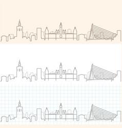 valencia hand drawn skyline vector image