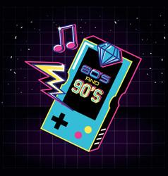 Video game hand of eighties and nineties retro vector