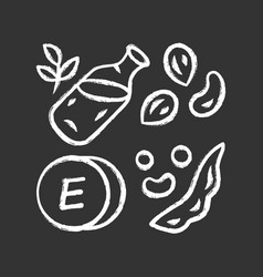 vitamin e chalk icon peanuts peas and beans seed vector image