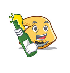 With beer fortune cookie mascot cartoon vector