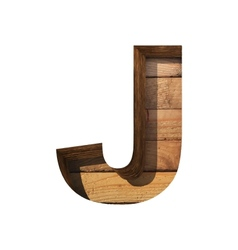 Wooden cutted figure j Paste to any background vector
