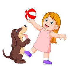 Young girl playing ball with dog vector