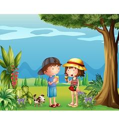 A boy and a girl vector image vector image