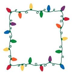 Christmas lights border vector image vector image