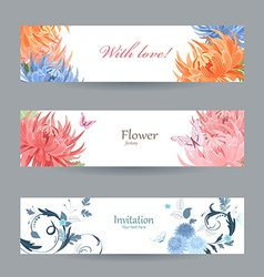 collection horizontal banners with chrysanthemums vector image vector image