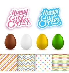 Happy Easter greeting cards creation kit vector image vector image