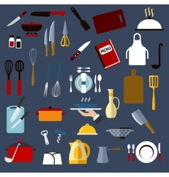 Kitchen utensil and dishware flat icons vector image vector image