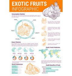 Nfographics of exotic fresh tropical fruits vector