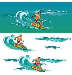 Surfing man on surfboard on sea waves vector image