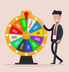 businessman with fortune wheel business concept vector image vector image