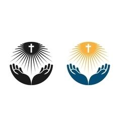Religion logo church pray or bible icon vector