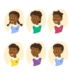 Set of cute cartoon pupils Children icon set vector image vector image