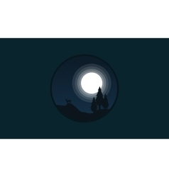 Spruce and deer landscape of silhouettes vector image