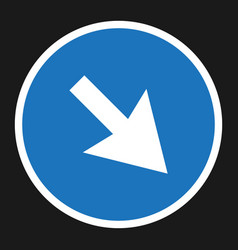 detour to the right sign flat icon vector image
