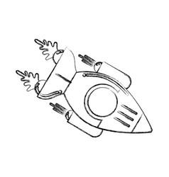 Figure space rocket galaxy sky travel vector
