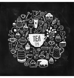 Hand drawn tea time vector image vector image