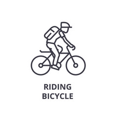 riding bicycle line icon outline sign linear vector image vector image