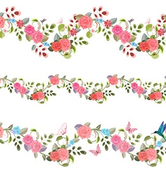 collection seamless borders with vintage floral vector image