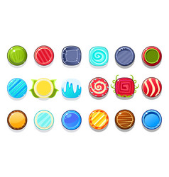 Colorful candy flash game element templates design vector