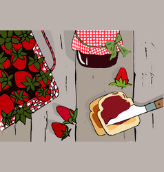 hand drawn vintage strawberry set vector image