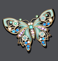 A jewelry brooch butterfly with precious stones vector