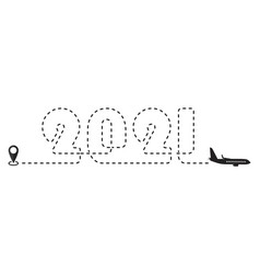 Airplane travel line icon or dotted line vector