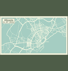 alicante spain city map in retro style outline map vector image