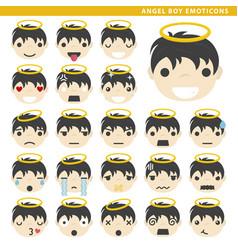 Angel boy emoticons vector