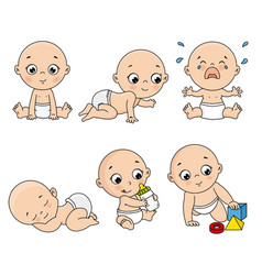 Baby set in different poses such as standing vector
