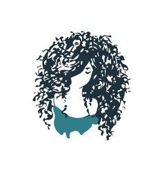 beautiful curly hair girl logo vector image