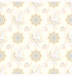 beautiful fabric pattern on neutral beige and vector image
