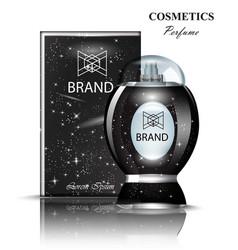black perfume bottle stylish shiny transparent vector image