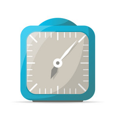 Blue analog alarm clock icon vector