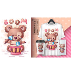 Boom bear - poster and merchandising vector