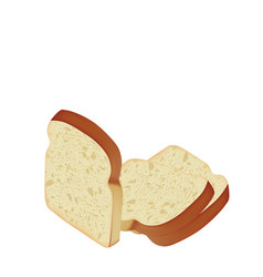 Bread slices on white background vector