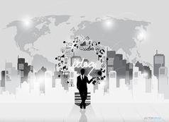 Business people silhouettes and light bulb as vector