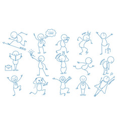 Business stickman hand drawn characters people vector
