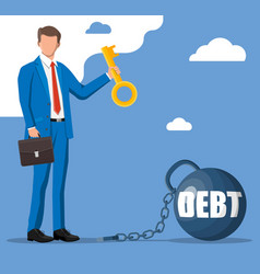 Businessman with key opens debt weight chain vector
