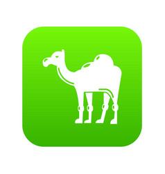 camel icon green vector image