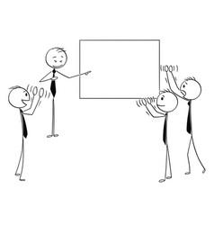 Cartoon of business people applauding to speaker vector
