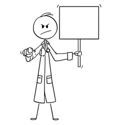 Cartoon serious looking doctor pointing at vector