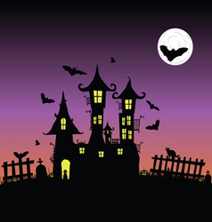 castle with bats six vector image