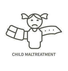 Child maltreatment linear icon vector