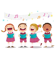 Choir girls and boys singing a song vector