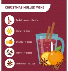 christmas cocktail recipe mulled wine vector image