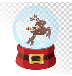 christmas glass magic ball with santa claus deer vector image
