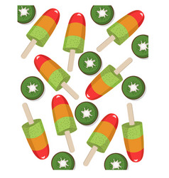 Colorful fruit icecream kiwi flavor summer treat vector