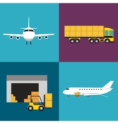 Commercial air shipping service icons set vector image