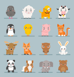 Cute baby animals cartoon cubs flat design icons vector