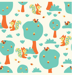 Cute squirrels and birds in the forest pattern vector